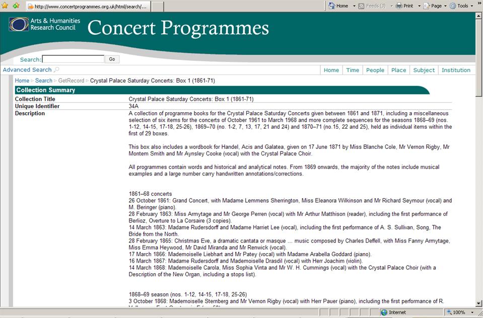 Concert Programmes database