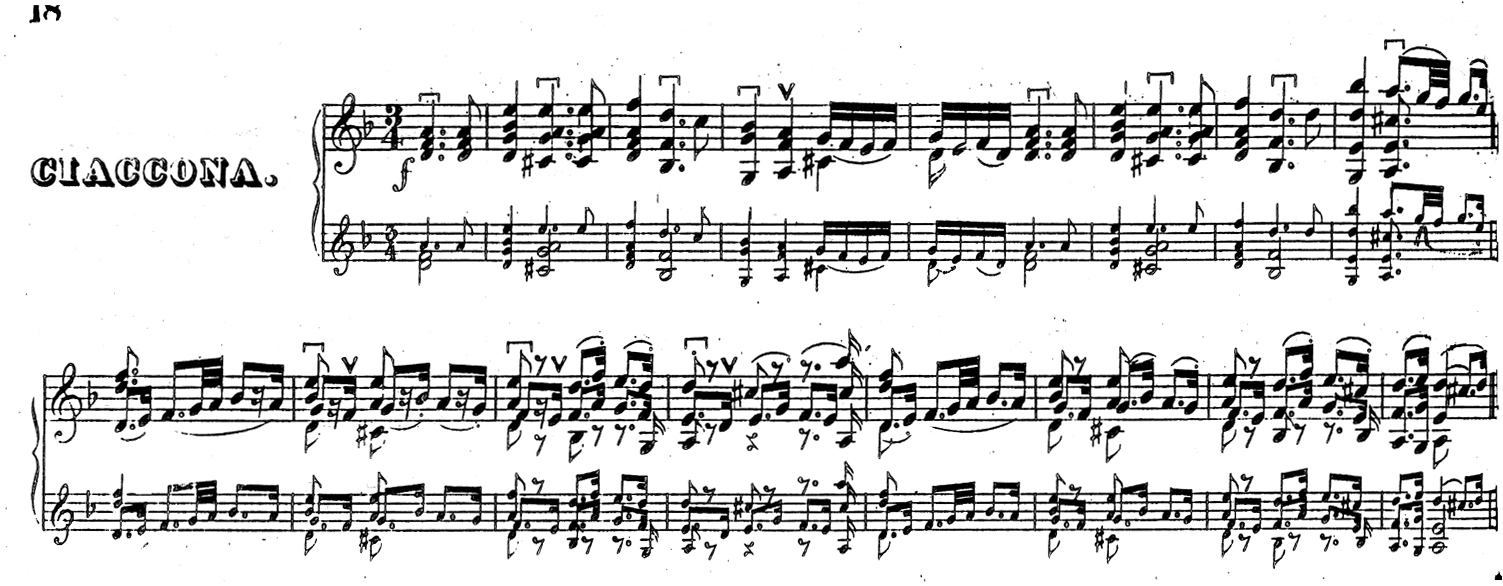 Facsimile of the opening of Bach's Chaconne in David's 1843 edition.