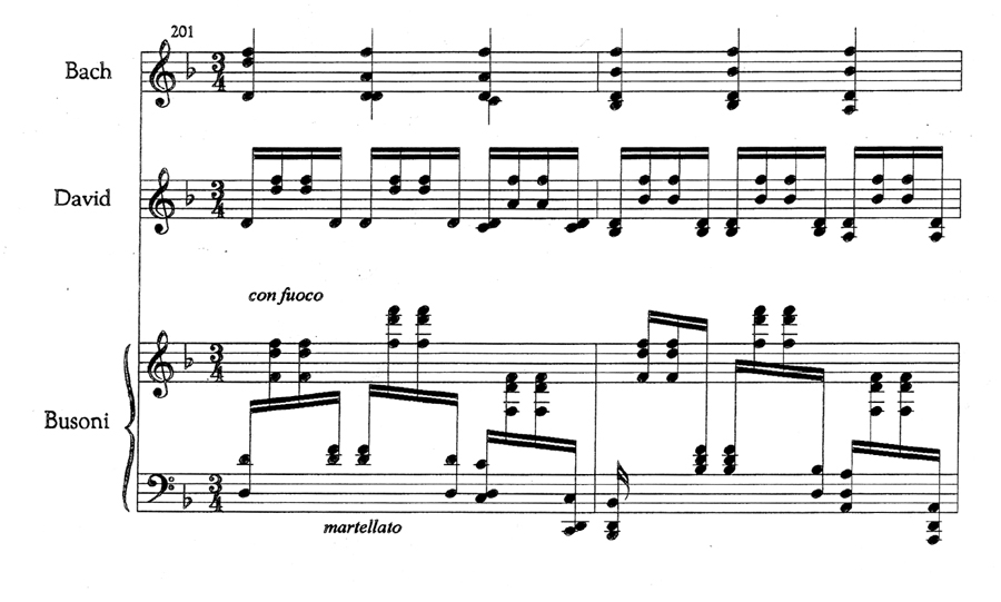 Bars 201-02 of Bach's showing his shorthand notation and the realisations by David and Busoni