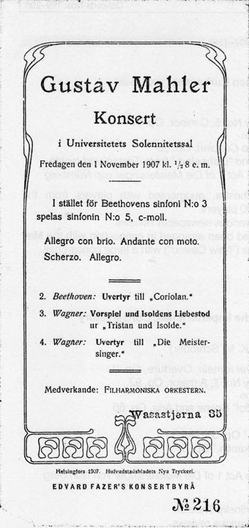 Facsimile of the programme of Mahler's concert in Helsinki on 1 November 1907