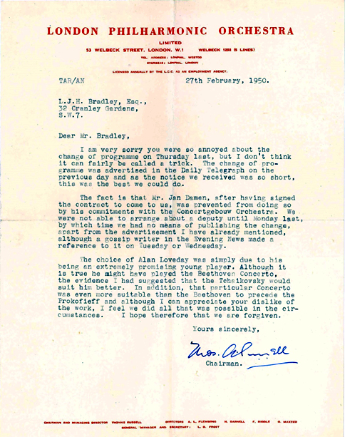 Colour scan of a letter from Thomas Russell to Lionel Bradley, 27 February 1950.