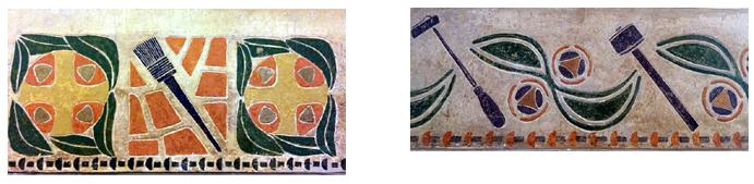 Colour photographs of two friezes