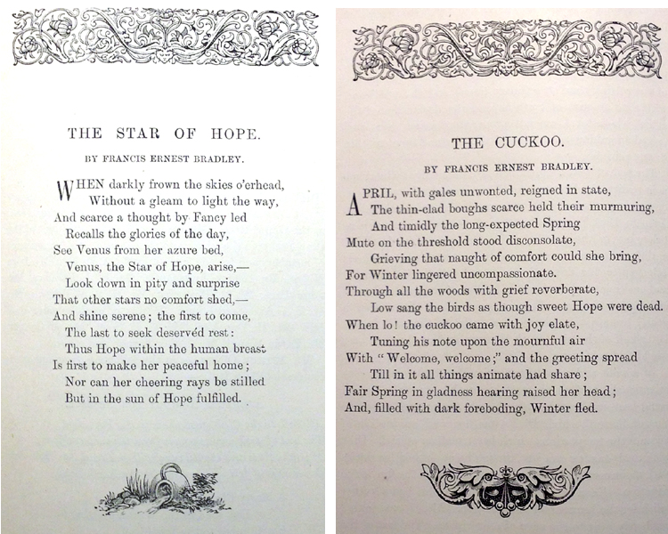 Fig. 3. Two Sonnets by Francis Ernest Bradley (Manchester Quarterly, vol. XII (1886))