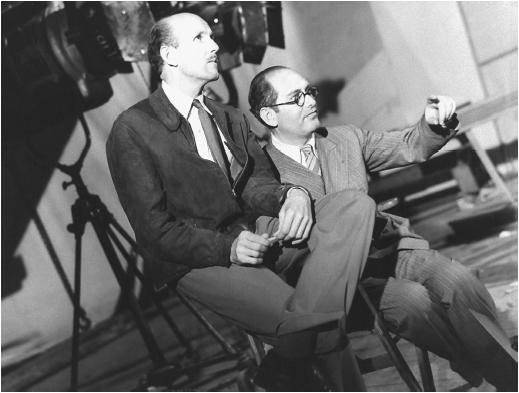 Black and white photograph of Michael Powell (left) and Emeric Pressburger