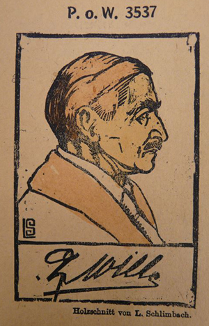A two-colour woodcut portrait of O.K. Wille